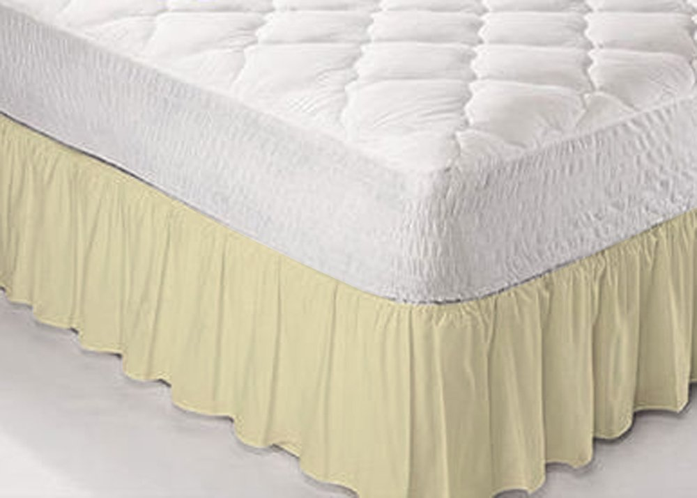 **Textile.Plus** Poly Cotton Frilled Platform Base Valance Sheets All Sizes OR Pillow Cases Available (Double, White)