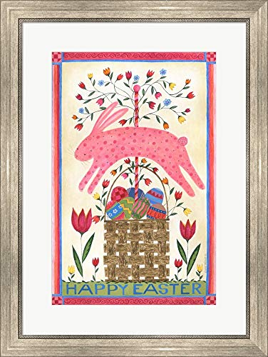 - Happy Easter Pink by Cindy Shamp Framed Art Print Wall Picture, Silver Scoop Frame, 21 x 28 inches