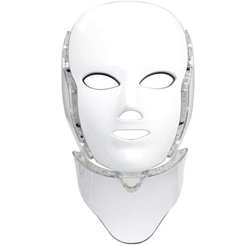 LED フォトン7カラーライトセラピーマスク首付き |フェイスビューティースキンケアトリートメント光線療法マスク B07LCM7LQL