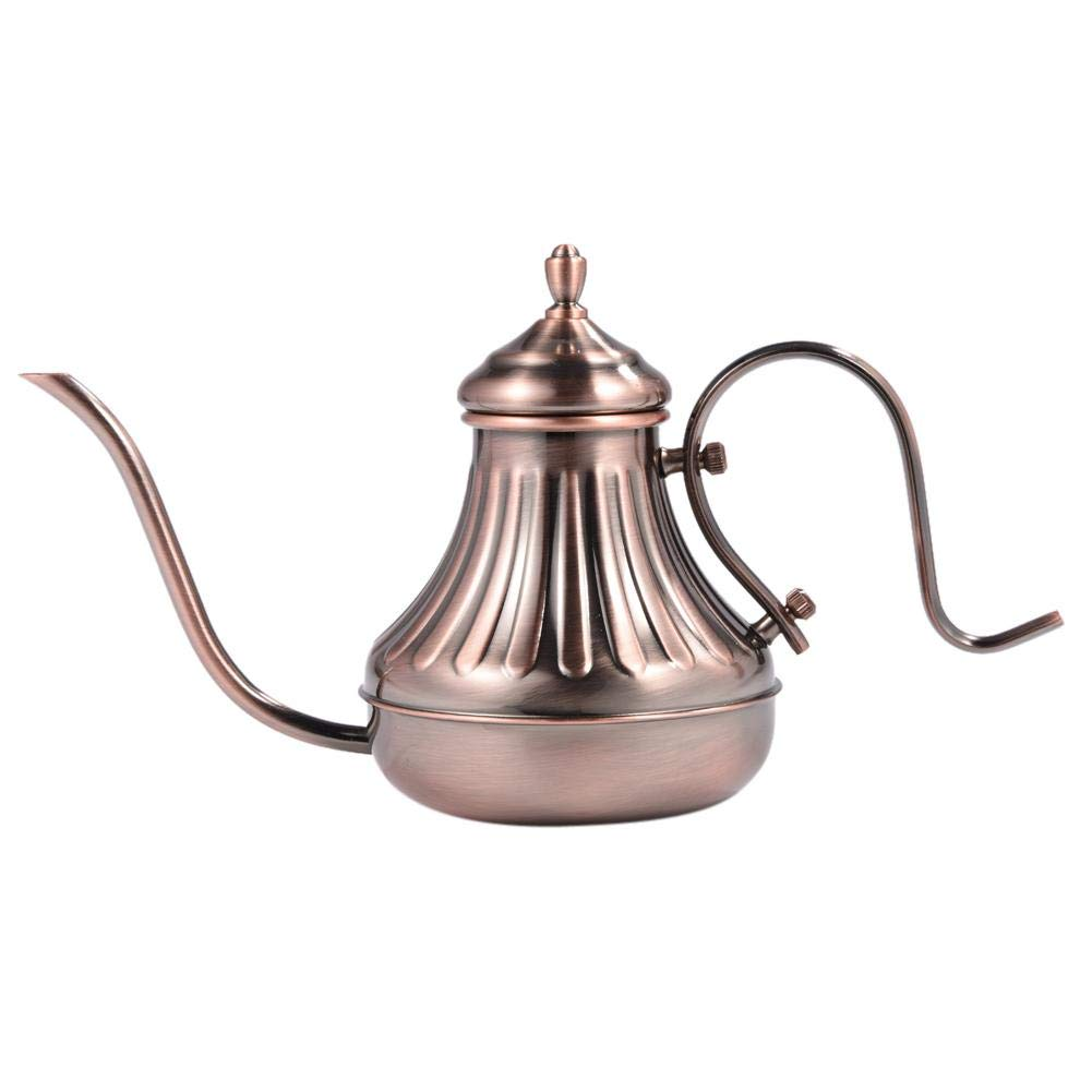 fosa 450ml/650ml 304 Stainless Steel Pour Over Coffee and Tea Kettle for Home Cafe, Long Narrow Spout Gooseneck Tea Pot, Works on Gas, Electric, Induction Stoves for Fast Water heating(Bronze 650ml)