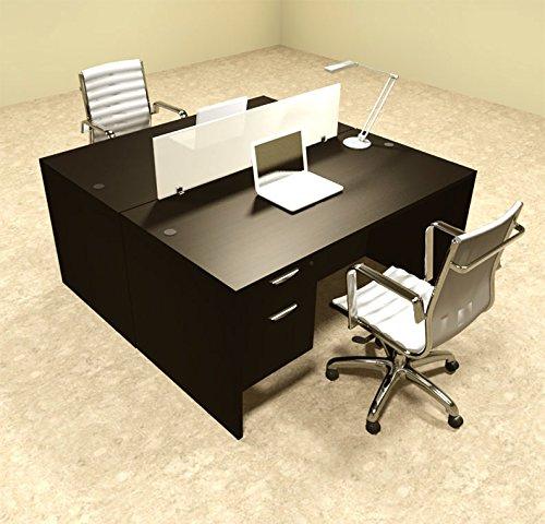 Two Person Modern Divider Office Workstation Desk Set, #OT-SUL-FP16 by UTM