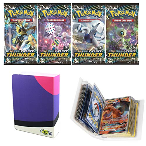 Totem World 1 Sun and Moon Lost Thunder Booster Pack with a Master Ball Mini Binder Collectors Album for Pokemon Cards (Best Ball To Catch Lugia)