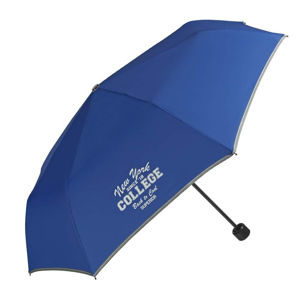 Paraguas Plegable para Niños y Niñas - Compacto y Seguro con Borde Reflectante - Estuche Portátil con Mosquetón - 7+ Años - Diámetro 91 cm - Azul - Perletti Cool Kids 15552A