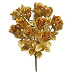 Admired-By-Nature-GPB265G-GOLD-14-Stems-Faux-Blossoms-Rose-Bush-Gold