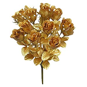 Admired By Nature GPB265G-Gold 14 Stems Faux Blossoms Rose Bush 1