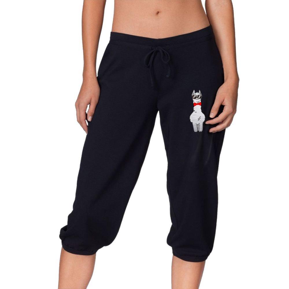 DJ5HN Sunglasses Tie Alpaca Women Knee Pants Casual Three-Quarter Jersey Drawstring Pants