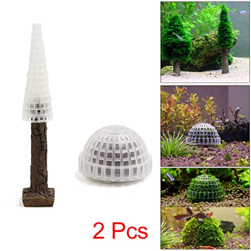 uxcell 2Pcs Brown Plastic Moss Tree Trunk Moss Ball Aquarium Fish Tank Decor Ornament
