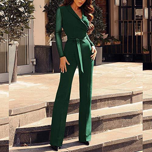 cou Manches Jupe Barboteuserobe Moulante pantalon Vert Femmes Conqueror Sexy Playsuit Large Jambière Combinaison Décontracté V Longues Combinaison Costume Dames Pyjamas BeodCx