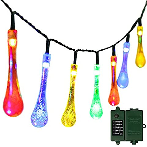 easyDecor Battery Operated String Lights 30 LED 23ft ( Included Rechargeable 18650 Battery ) with Automatic Timer 8 Mode Water Drop Christmas Light for Garden Outdoor Holiday Decorations (Multi (C7 Twinkling Bulbs)