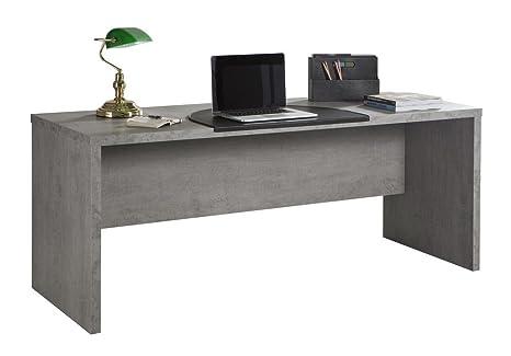 Scrivania Ufficio Bianco Lucido : Scrivania ufficio moderna color cemento amazon casa e cucina