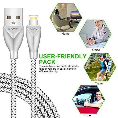 iPhone Cable CSHope 5ft / 1.5M Apple MFi Certified Cable Charge and Data Sync Nylon Braided Lightning Cable for iPhone iPad and iPod (1pc, Black and Grey)