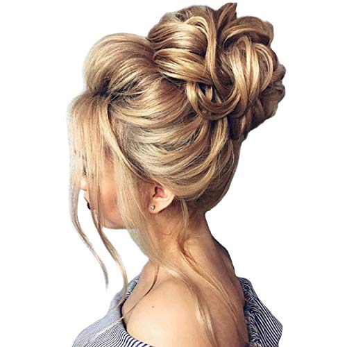FUT Scrunchy Scrunchie Hair Bun Updo Hairpiece Ponytail Hair Extensions Wavy Curly Messy Hair Bun Extensions Donut Chignons Hair Piece ash blonde (Headbands For Buns)