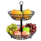 2-Tier Decorative Heavy-duty Line Fruit Basket Countertop Bracket Black (Color : Black)
