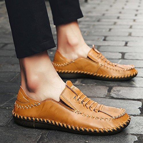 Bedel Voet Heren Zakelijke Formele Platte Lederen Instappers Schoenen Geelachtig Bruin