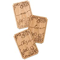 Floral Design Laser Cut Wood Table Numbers (Wedding Decor / Baby Milestone Markers / Tabletop)