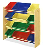 Whitmor Kid's Toy Storage - 12 Easy Clean Bins - 4 Tier Toy Rack and Book Organizer - Primary Colors