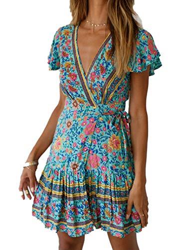Naggoo Womens V Neck Bohemian Floral Print Summer Beach Wrap Mini Dress with Belt (M, Green ()