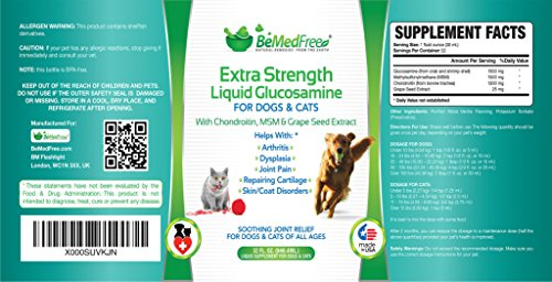 BeMedFree.com Extra Strength Liquid Glucosamine - Hip And Joint Pain Relief Supplement For Dogs And Cats - With Chondroitin, MSM, And Grape Seed Extract, 32 fl. oz. by BeMedFree.com (Image #3)