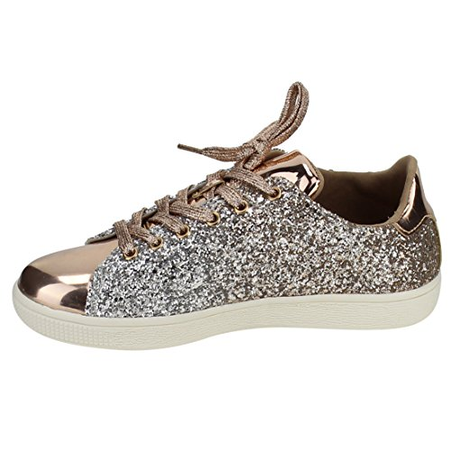 Lace Gold Glitter Up Rose Lace Light Glitter Women Weight Fashion Link Quilted Top Shoe Forever Sneaker Low Stylish 1 11 Metallic Up Leatherette wx4q7S