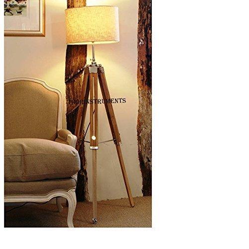 Brass Nautical Vintage Classic Teak Wood Tripod Floor Lamp Nautical Floor Home Decor lamp