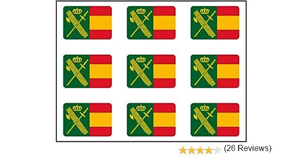 Amazon.es: Artimagen Pegatina rectángulos Bandera con Logo Guardia Civil 9 uds. 16x11 mm/ud.