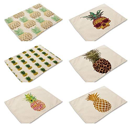 GEFANENR Mantel Individual,6 Unids/Art Master Manteles Pina Fruta Mantel Individual para Mesa de Comedor Posavasos Accesorios de Flores Decoracion para el hogar Cojin Moderno