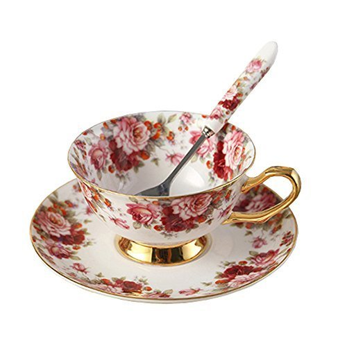 Bone China Ceramic Tea Cup Coffee Cup and Saucer,Flower,White And Red