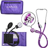 Aneroid Sphygmomanometer and Stethoscope Kit by LotFancy, Manual Blood Pressure Cuff Gauge, Dual-Head Sprague Stethoscope, Portable Case Included, Purple
