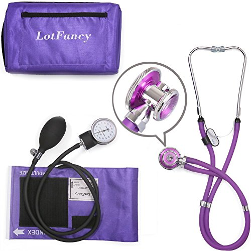 Aneroid Sphygmomanometer and Stethoscope Kit by LotFancy, Manual Blood Pressure Cuff Gauge, Dual-Head Sprague Stethoscope, Portable Case Included, Purple (Kit Pressure)
