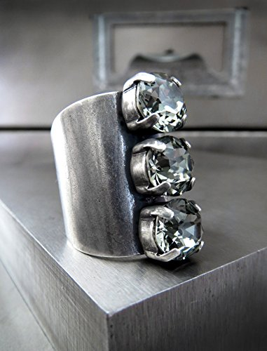 Black Diamond Crystal Ring, Trio of 3 Grey Swarovski Crystal Rhinestones on Antiqued Silver Plated Adjustable Ring Band, Unisex Women Mens Ring