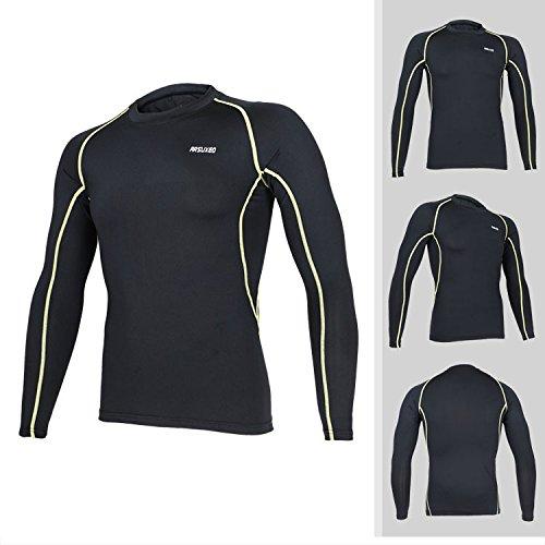 Longues Corps Manches Sports Gym Chiffon Respirant Élastique amp;yellow Tofern Black Primer Séchage Running Homme Chemise Line Pour Rapide q7fzwO4