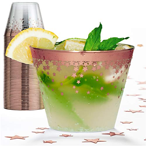 Rose Gold Plastic Party Cups - 9 Oz Disposable Plastic Tumblers 50 Count Clear Cocktail Glasses Tumblers Great Party & Hosting Supplies Wedding Showers Birthdays Bonus Decorative Star Design Conffeti]()