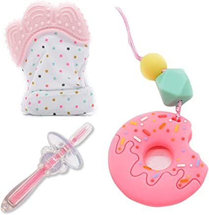 Baby Teething Teether Toys Necklace Pain Relief Silicone Jewelry Toothbrush Gift