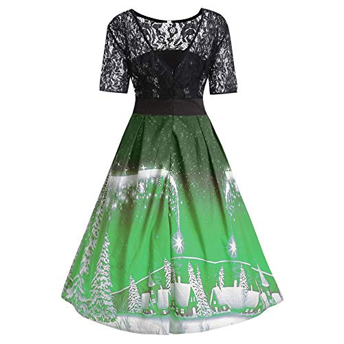 Womens Snow Flower - lotus.flower Christmas Dress Women Snow Trees Printed Lace Splicing Party Vintage Dress (S, Green)