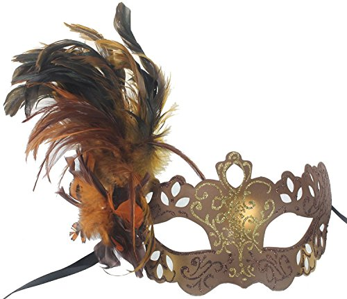 Womens Elegant Feathered Venetian Costume Mask - Brown & Gold (Feathered Masquerade Mask)