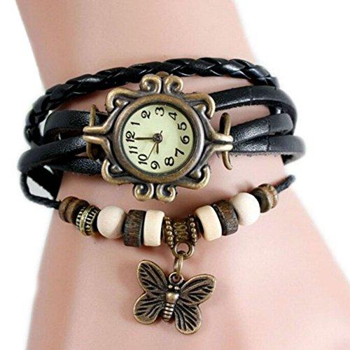 Women Weave Wrap Leather Bracelet Wrist Watch Black - 9