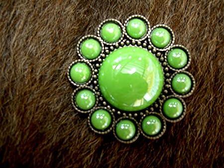C-TY04 Set Of 4 Western Screw Back Concho Green Crystal Wheel Bling Cowgirl Set