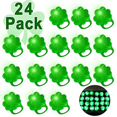 AMENON 24 Pack St Patricks Day Green Shamrocks LED Light Up Ring for Kids Adults St Patricks Party Accessories Favors LED Finger Lights Glow in The Dark Carnival Party Supplies Gift Toy