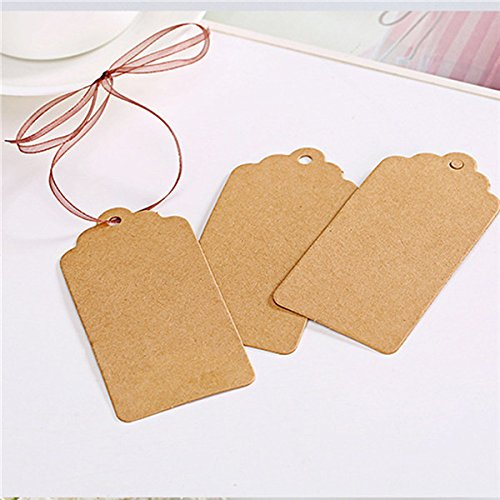 (Xiaogongju 100 Pieces/Lot 24Cm Paper Gift Tags Card White Scallop Festival Party Birthday Wedding Decoration Blank Mini Luggage Label Brown)