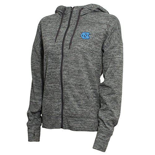 NCAA North Carolina Tar Heels Women's Zip Front Drawstring Hoodie, Medium, Marled Gray