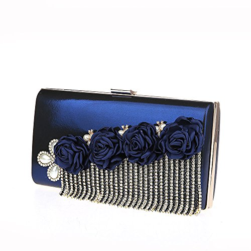Main Sac Fleurs Diamants Bleu Soirée à Faux 22x4x12cm Franges HIDOUYAL Multicouleur avec Pochette Opwq4wt