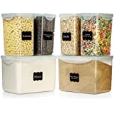 LARGE SIZE Food Storage Containers - Sugar, Flour Plastic Containers 12 pc (set of 6) - 18 FREE Chalkboard labels & Marker - Airtight, Leakproof - BPA Free - Microwave, Freezer & Dishwasher Safe