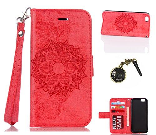Para Smartphone Apple Iphone 6(4.7pulgadas) Carcasa, Piel Funda para Apple iPhone 6(4.7pulgadas) Flip Cover Funda Libro Con Tarjetero Función Atril magnético + Polvo Conector rojo 2 4