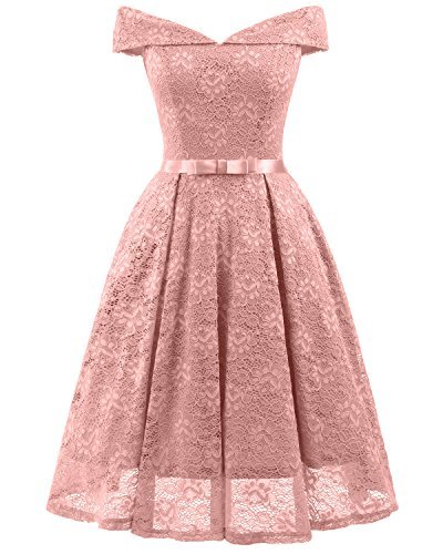 MILANO BRIDE Women's Vintage Lace Overlay Elegant Evening Party Swing Dress with Sash-M-Pink