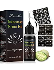 Temporary Tattoo Ink, Temporary Tattoos Kit, Freehand Ink, Freehand Tattoo Ink, Natural & Long Lasting Jagua Fruit Gel/Ink with Special Design Tattoo Stencils