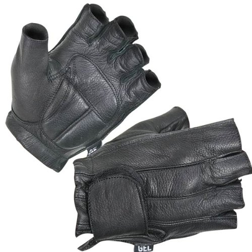 Xelement XG850 Mens Black Leather Deerskin Fingerless Motorcycle Gloves - Large