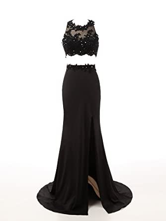 Changjie Womens Black Lacy Two Piece Spring Prom Gown Formal Evening Dresses