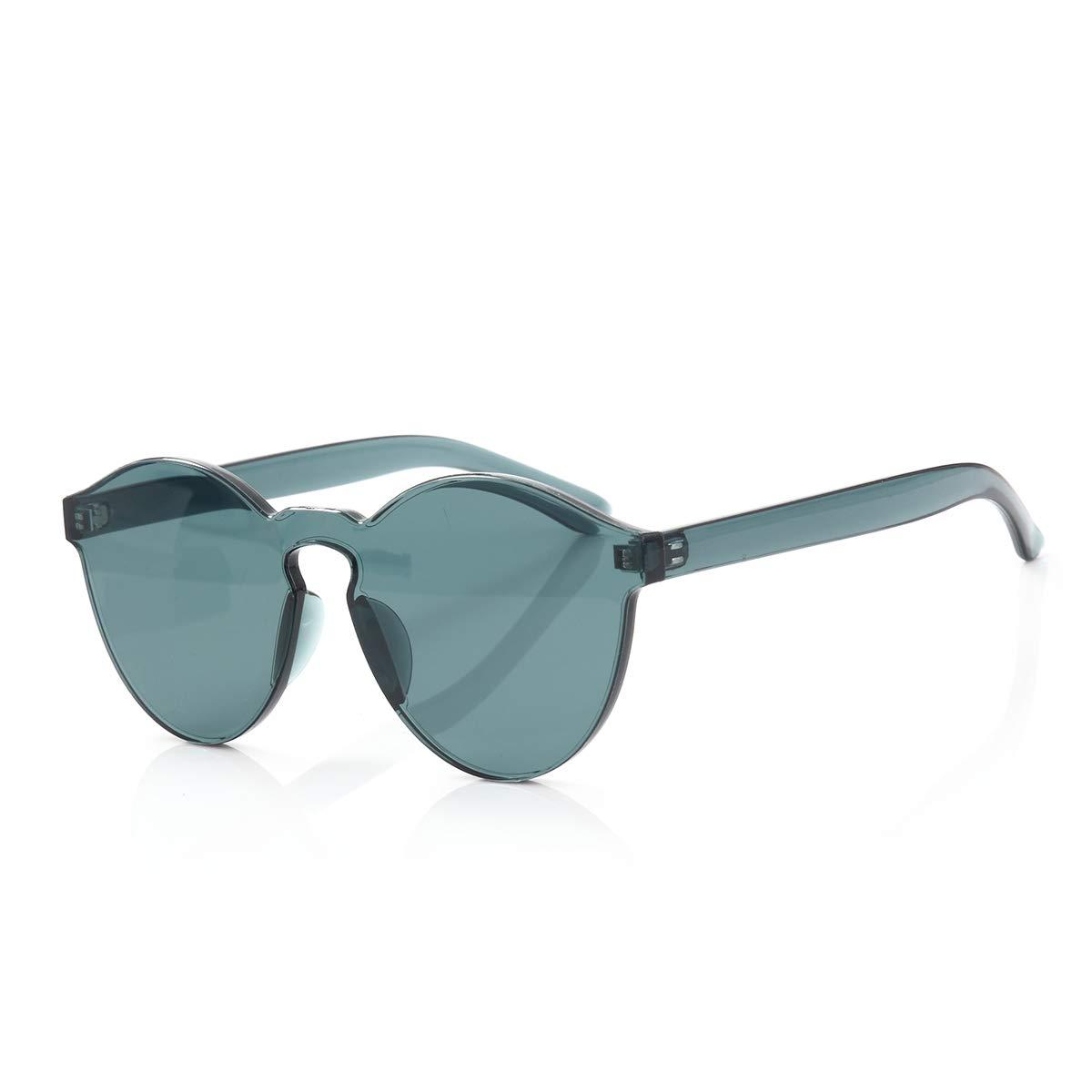 ee21fb8b529b Amazon.com  OLINOWL Rimless Sunglasses Oversized Colored Transparent Round  Eyewear Retro Eyeglasses for Women Men  Clothing