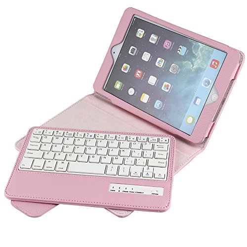 Eoso Folding Leather Folio Cover with Removable Bluetooth Keyboard for iPad Mini 1/2/3/4 (for ipad Mini 1/2/3/4, - Cover Foldable Leather