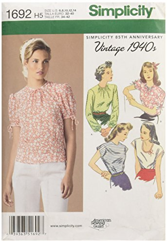 Simplicity Vintage 1940`s American Sewing Guild Pattern 1692 Misses Vintage Style Tops Sizes 6-8-10-12-14 by Simplicity Creative Group Inc - Patterns